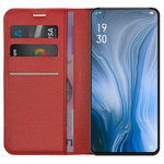 Leather Wallet Case & Card Holder Pouch for Oppo Reno 5G / 10x Zoom - Red